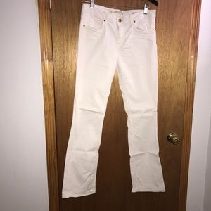 Pants - High-waisted off-white cotton denim pants